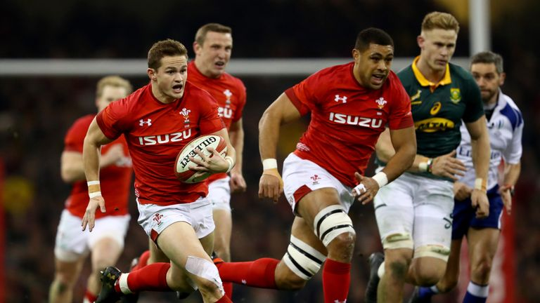 Hallam Amos of Wales breaks through  the Boks' defence with  Taulupe Faletau in support