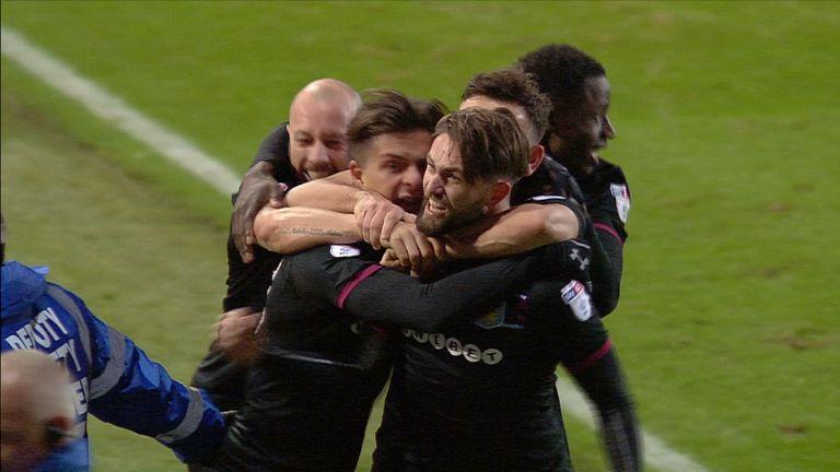 Henri Lansbury goal celeb, Leeds v Aston Villa