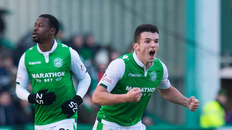 Hibernian's John McGinn encourages his team-mates after they make it 2-1