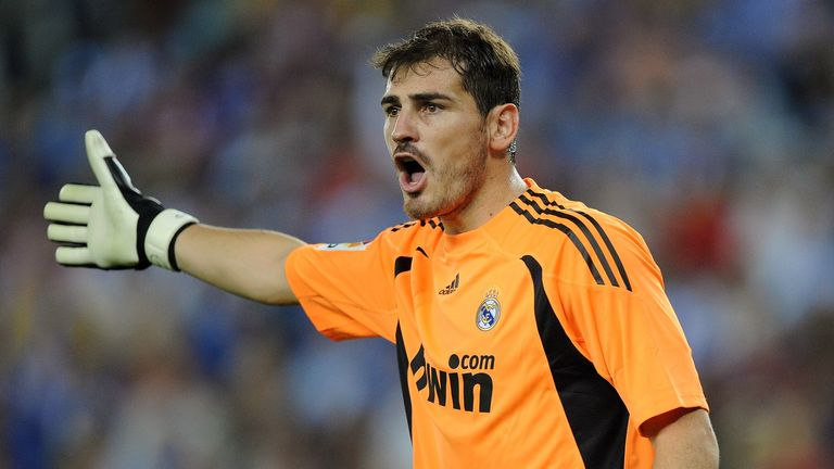 BARCELONA, SPAIN - SEPTEMBER 12: Iker Casillas of Real Madrid reacts during the La Liga match between Espanyol and Real Madrid at the  Nuevo Estadio de Cor