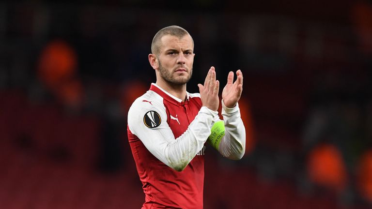 Jack Wilshere applauds Arsenal's fans after the 6-0 Europa League win over BATE Borisov