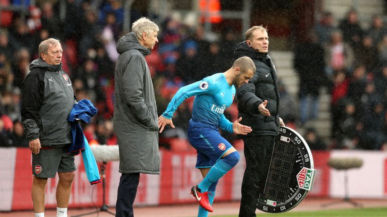 Jack Wilshere prepares to come on at St Mary's