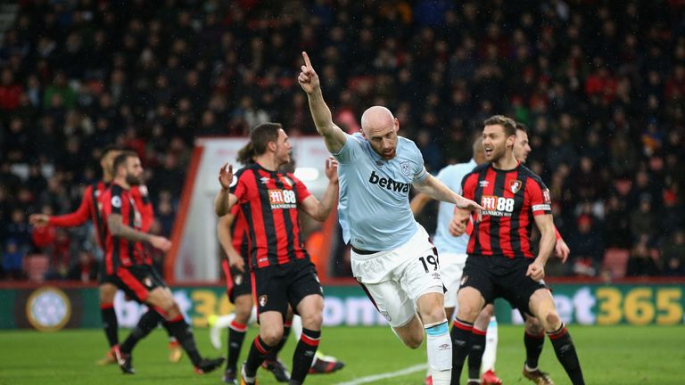 James Collins celebrates his goal at Bournemouth