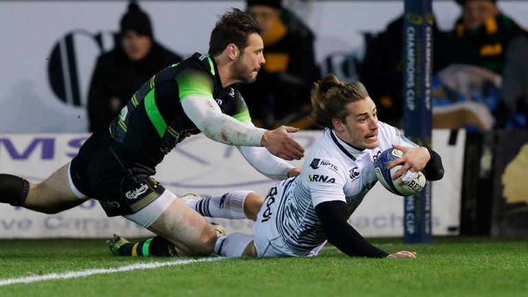 Jeff Hassler scored two tries for Ospreys at Franklin's Gardens