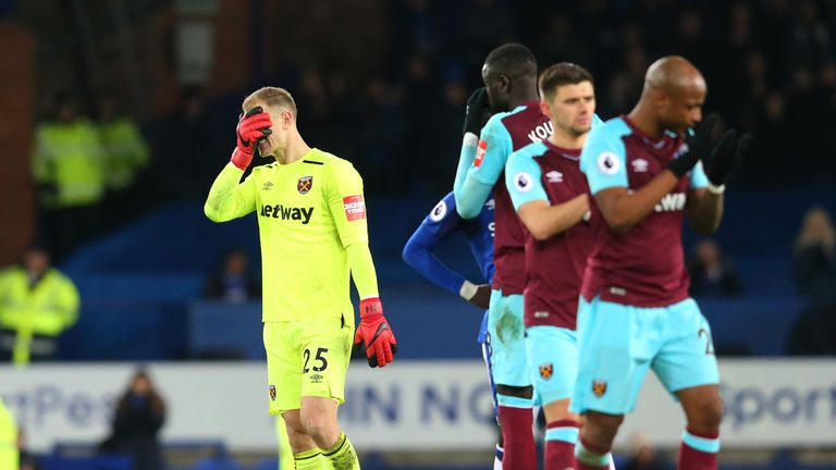 Joe Hart looks dejected after West Ham's 4-0 defeat to Everton at Goodison Park
