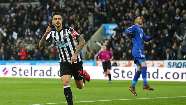 Joselu of Newcastle United celebrates scoring the first goal during the Premier League match v Leicester City