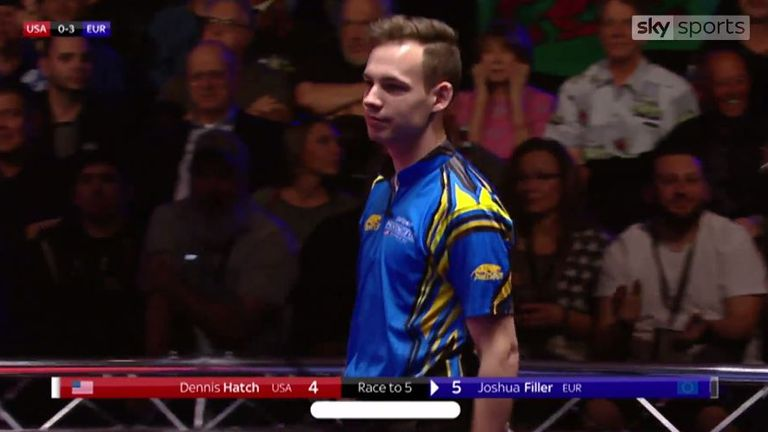 Joshua Filler sealed a feisty victory for Team Europe at the Mosconi Cup