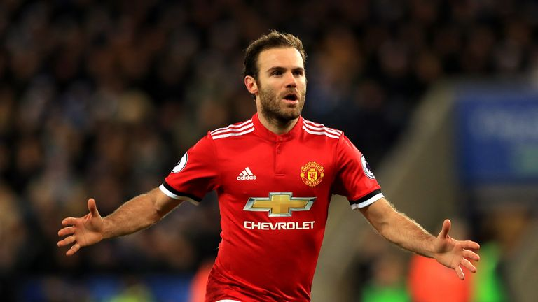 Juan Mata celebrates after giving Manchester United a 2-1 lead at the King Power Stadium