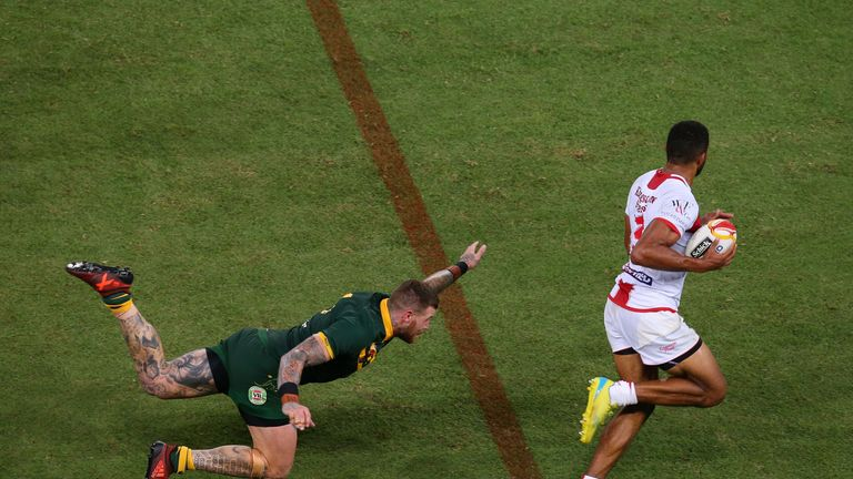 Josh Dugan's outstretched left hand may have been all that stopped England from drawing level with their hosts