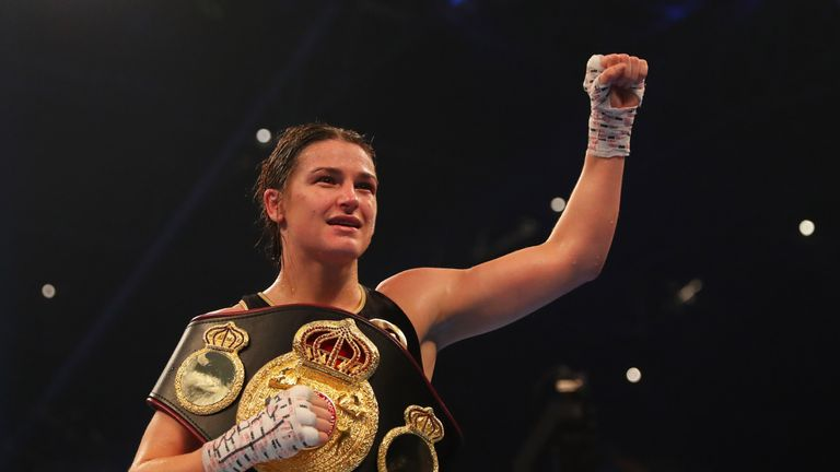 CARDIFF, WALES - OCTOBER 28:  Katie Taylor celebrates victory after the WBA Lightweight World Championship contest against Anahi Sanchez at Principality St