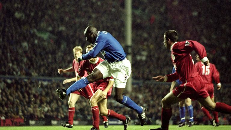 Kevin Campbell rifles home his early goal at Anfield