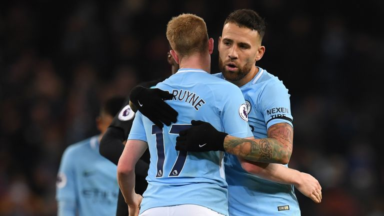 Kevin De Bruyne has been a driving force behind City's success this season but Guardiola believes Otamendi deserves credit