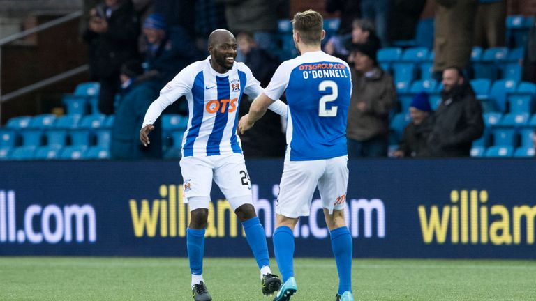 Youssouf Mulumbu (left) celebrates with team-mate Stephen O'Donnell after Kris Boyd scores the second goal