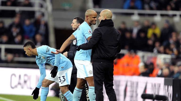 Vincent Kompany came off with an apparent injury after 11 minutes against Newcastle