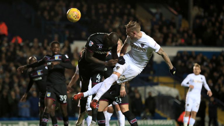 Leeds United's Pontus Jansson scores his side's first goal of the game v Aston Villa, Sky Bet Championship