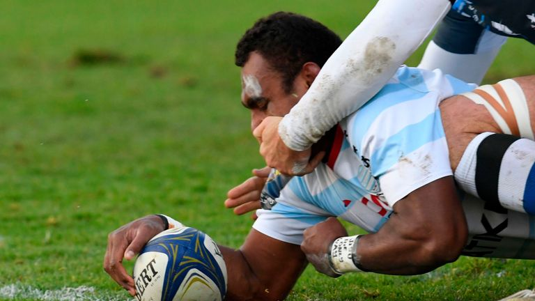 Leone Nakarawa scores the opening try for Racing 92 against Castres