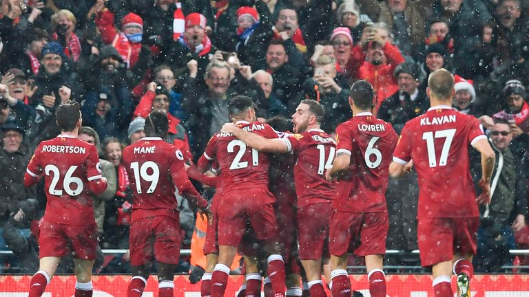 Liverpool players congratulate Mohamed Salah after he makes it 1-0