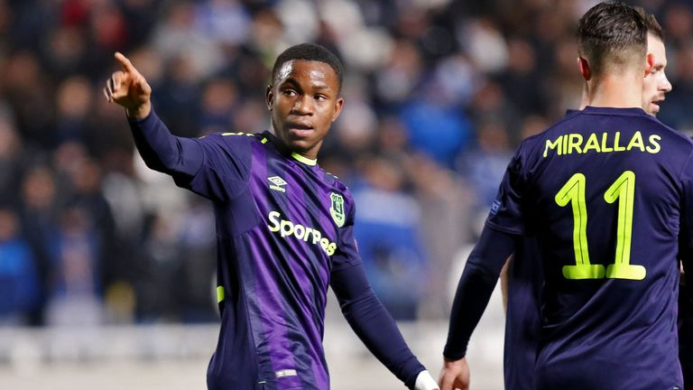 Ademola Lookman celebrates after his stunning second goal