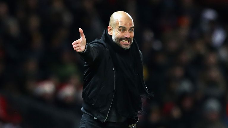 Pep Guardiola reacts during the derby match at Old Trafford