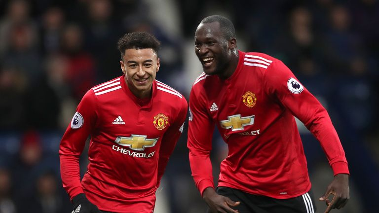 Manchester United's Jesse Lingard (left) celebrates after scoring his side's first goal of the game with team-mate Romelu Lukaku during the Premier League