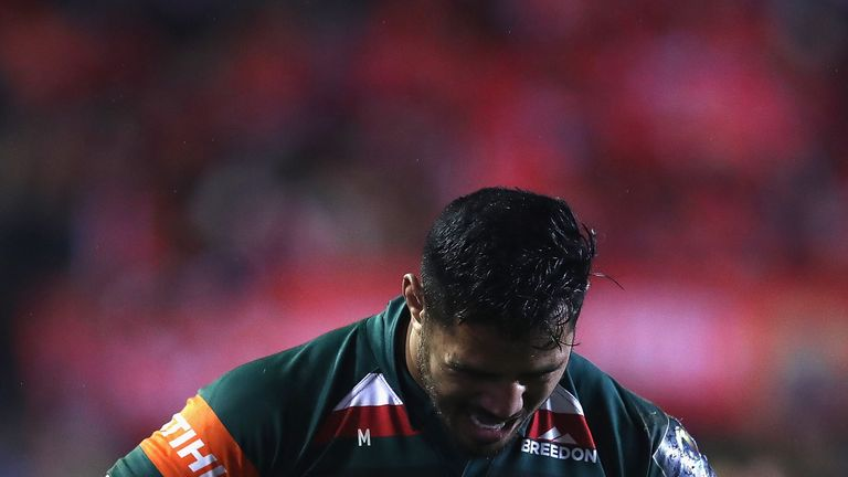 Manu Tuilagi of Leicester Tigers looks dejected after his team lost to Munster