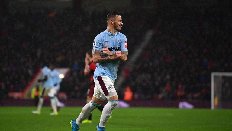 Marko Arnautovic celebrates West Ham's second