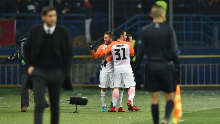Shakhtar Donetsk celebrate their first goal in the 2-1 win