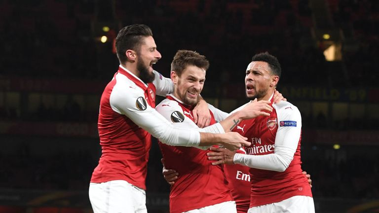 DEC 07/17:  (2ndL) Mathieu Debuchy celebrates scoring with (L) Olivier GIroud and (R) Francis Coquelin in Europa League game against BATE Borisov.