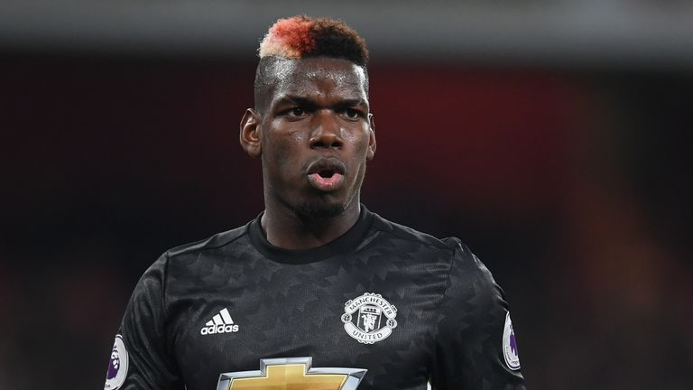 LONDON, ENGLAND - DECEMBER 02:  Paul Pogba of Manchester United looks on during the Premier League match between Arsenal and Manchester United at Emirates