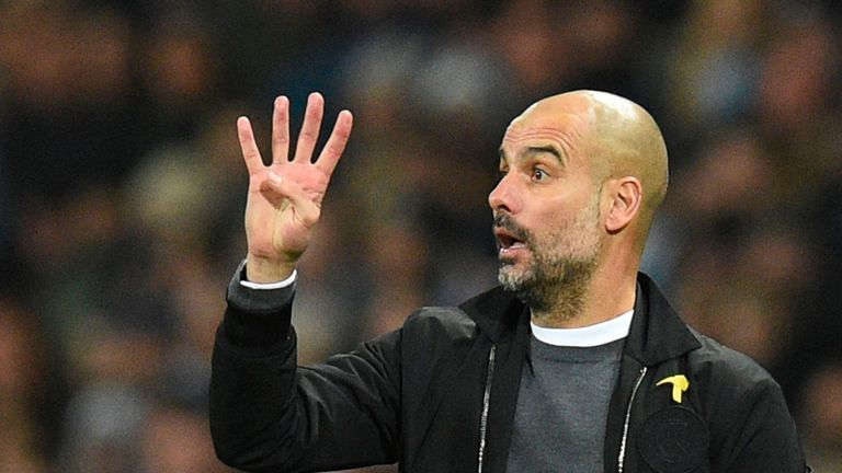 Pep Guardiola gestures on the touchline during the Premier League match between Manchester City and Bournemouth