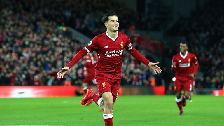 Philippe Coutinho opens the scoring for Liverpool
