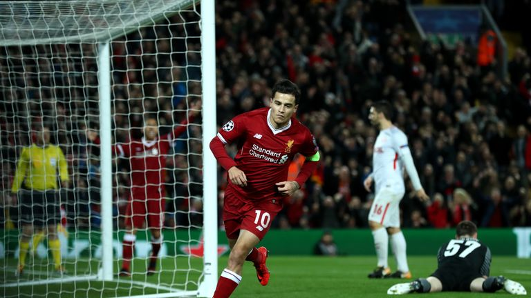 Liverpool's Philippe Coutinho celebrates scoring his sides second goal of the game during the UEFA Champions League, Group E match at Anfield, Liverpool.