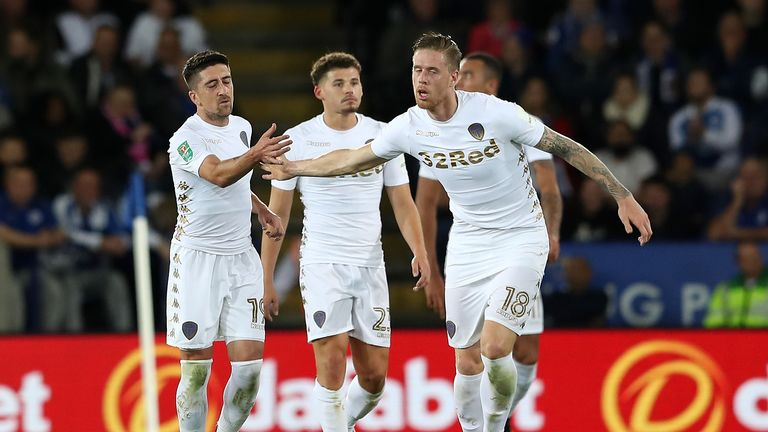 Pablo Hernandez of Leeds United celebrates scoring the first Leeds goal with Pontus Jansson during the Carabao Cup clash v Leicester, 24 October 2017