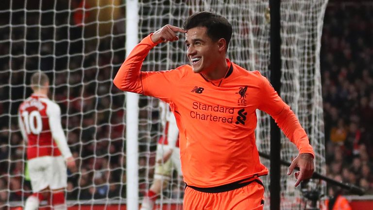Philippe Coutinho celebrates after giving Liverpool the lead