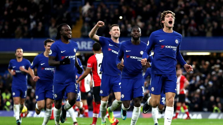Marcos Alonso celebrates after scoring his Chelsea's first goal