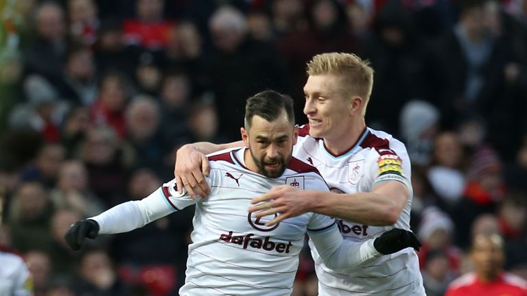Steven Defour celebrates after making it 2-0 with a fantastic free-kick