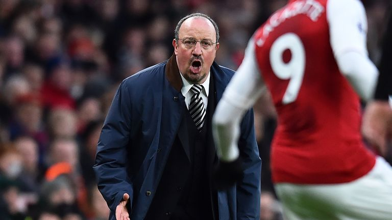 Rafael Benitez on the touchline during the Premier League football match between Arsenal and Newcastle United at the Emirates Stadium