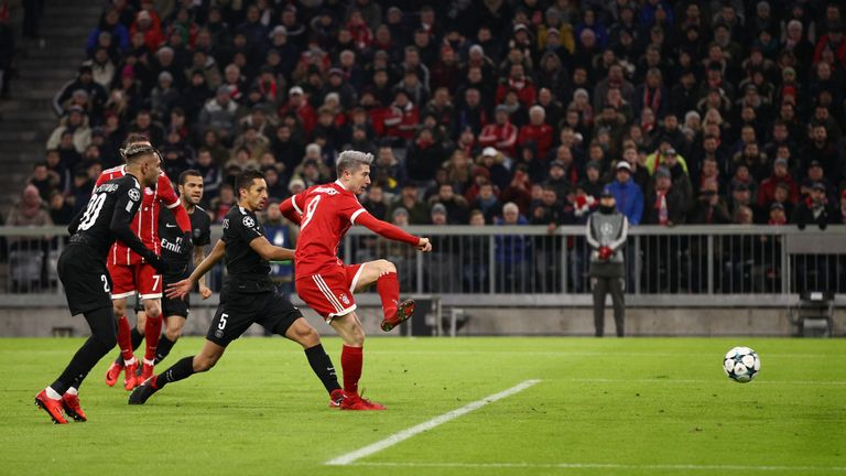 Robert Lewandowski opens the scoring against PSG