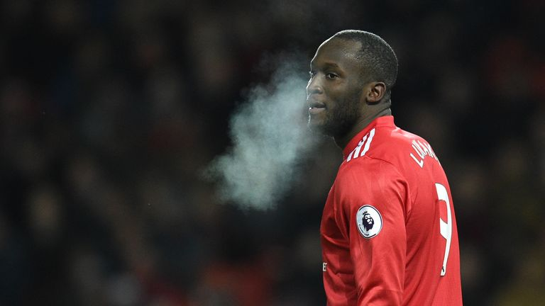 Romelu Lukaku during the Premier League football match between Manchester United and Bournemouth at Old Trafford