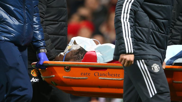 An injured Romelu Lukaku of Manchester United is stretchered off on Saturday night