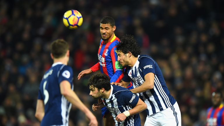 Ruben Loftus-Cheek of Crystal Palace wins a header during the Premier League match between West Bromwich Albion