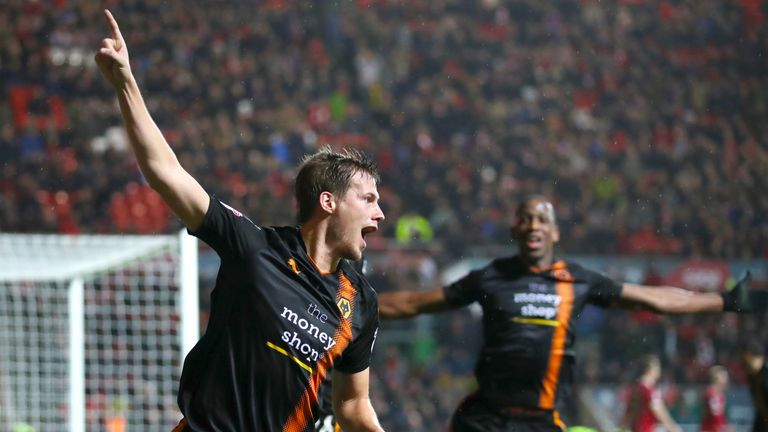 Wolverhampton Wanderers' Ryan Bennett celebrates scoring his side's second goal of the game during the Sky Bet Championship match at Ashton Gate, Bristol.