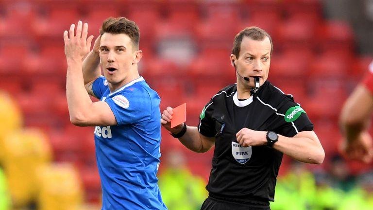Referee Willie Collum sends off Ryan Jack
