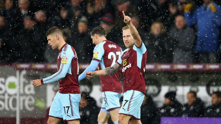 Scott Arfield celebrates after scoring late in the first half
