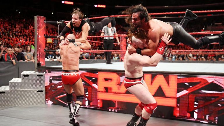 Seth Ambrose and Dean Ambrose had their moments against The Bar but were beaten - thanks to an assist from Samoa Joe