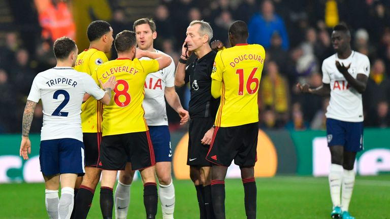 Sanchez was dismissed for serious foul play after putting an arm across Richarlison's face