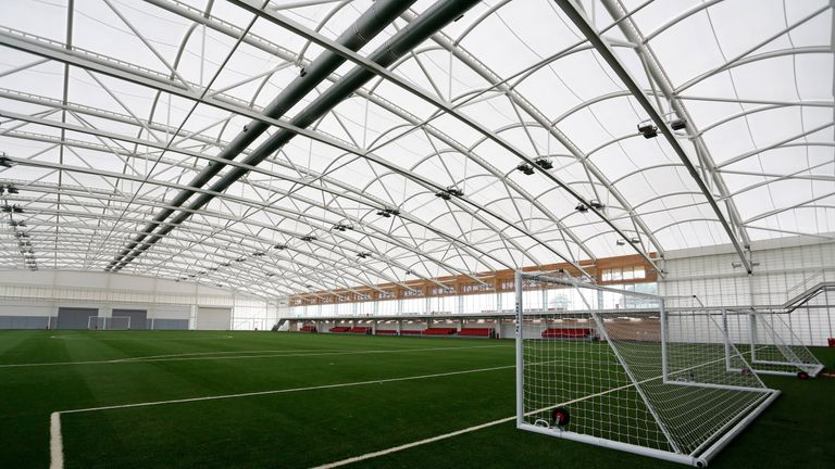 BURTON, ENGLAND - JULY 10:  In this handout image provided by The FA, A general view of the Sir Alf Ramsey indoor training pitch during a media event