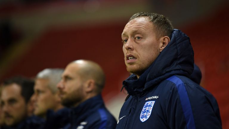 ROTHERHAM, ENGLAND - NOVEMBER 14:  England manager Steven Cooper during the  International Match between  England U17 and Germany U17 at The New York Stadi