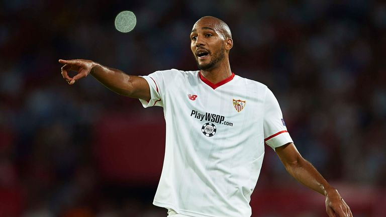 SEVILLE, SPAIN - AUGUST 22:  Steven N'Zonzi of Sevilla FC looks on during the UEFA Champions League Qualifying Play-Offs round second leg match between Sev