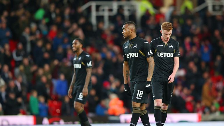 STOKE ON TRENT, ENGLAND - DECEMBER 02: Jordan Ayew of Swansea City look dejected during the Premier League match between Stoke City and Swansea City at Bet